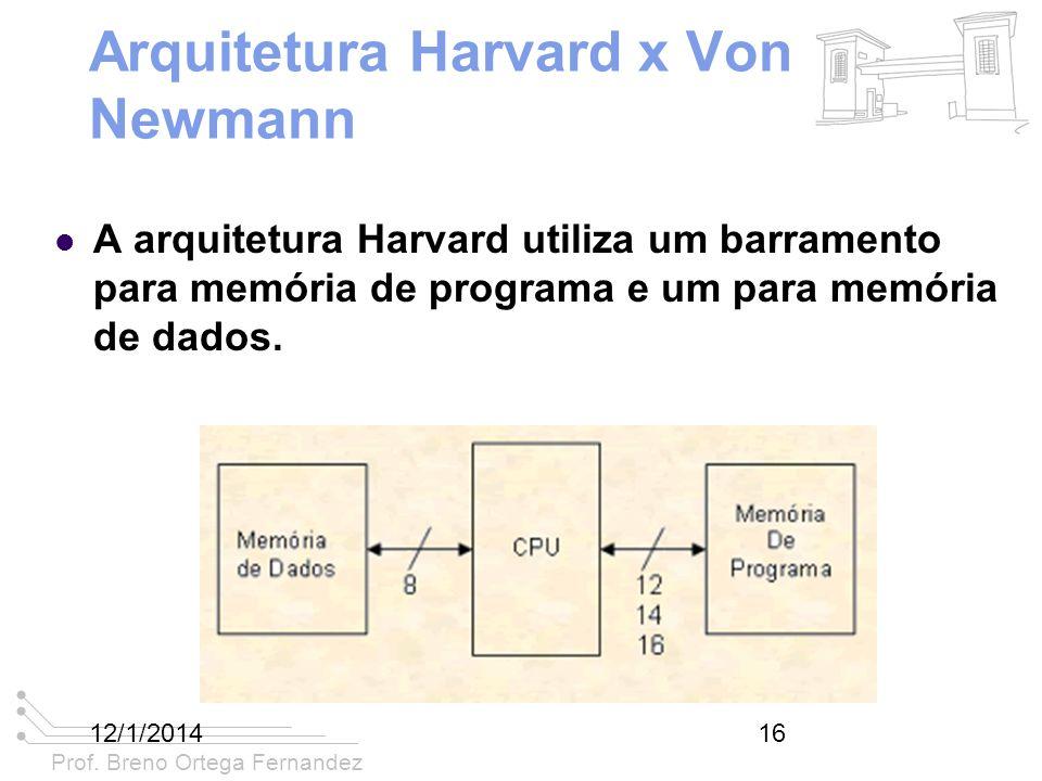 Prof. Breno Ortega Fernandez 12/1/201416 Arquitetura Harvard x Von Newmann A arquitetura Harvard utiliza um barramento para memória de programa e um p