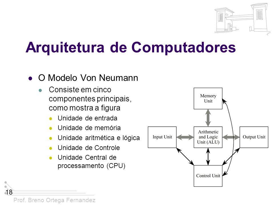 Prof. Breno Ortega Fernandez 18 Arquitetura de Computadores O Modelo Von Neumann Consiste em cinco componentes principais, como mostra a figura Unidad