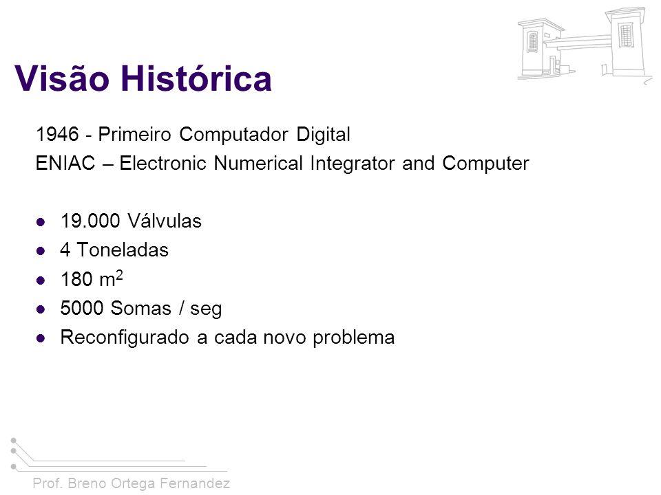 Prof. Breno Ortega Fernandez Visão Histórica 1946 - Primeiro Computador Digital ENIAC – Electronic Numerical Integrator and Computer 19.000 Válvulas 4