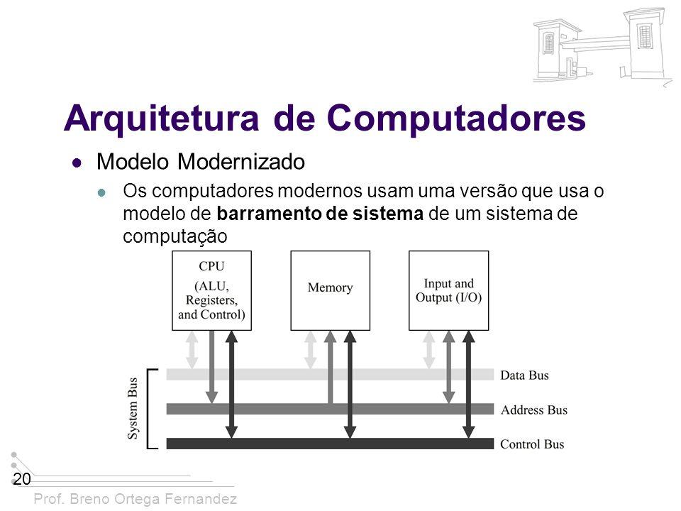 Prof. Breno Ortega Fernandez 20 Arquitetura de Computadores Modelo Modernizado Os computadores modernos usam uma versão que usa o modelo de barramento