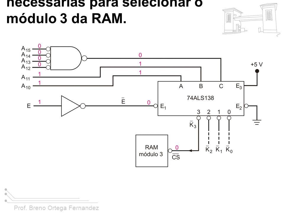 Prof. Breno Ortega Fernandez FIGURA 11-43 Exemplo 11-18, mostrando as condições do barramento de endereço necessárias para selecionar o módulo 3 da RA