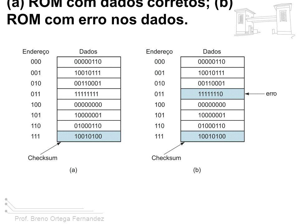 Prof. Breno Ortega Fernandez FIGURA 11-45 O método checksum para uma ROM de 8 X 8; (a) ROM com dados corretos; (b) ROM com erro nos dados.