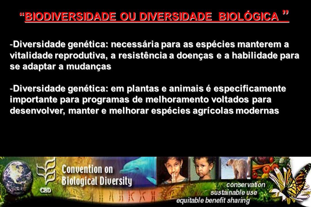 -Diversidade genética: necessária para as espécies manterem a vitalidade reprodutiva, a resistência a doenças e a habilidade para se adaptar a mudança