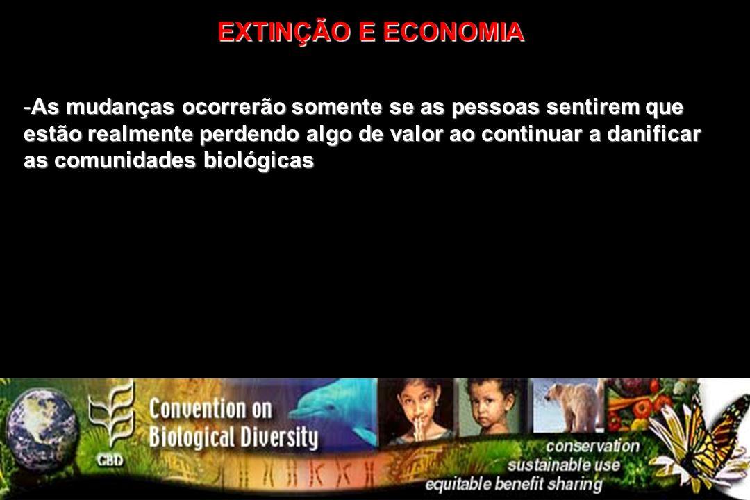 -As mudanças ocorrerão somente se as pessoas sentirem que estão realmente perdendo algo de valor ao continuar a danificar as comunidades biológicas EX