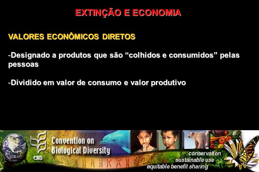 VALORES ECONÔMICOS DIRETOS -Designado a produtos que são colhidos e consumidos pelas pessoas -Dividido em valor de consumo e valor produtivo EXTINÇÃO