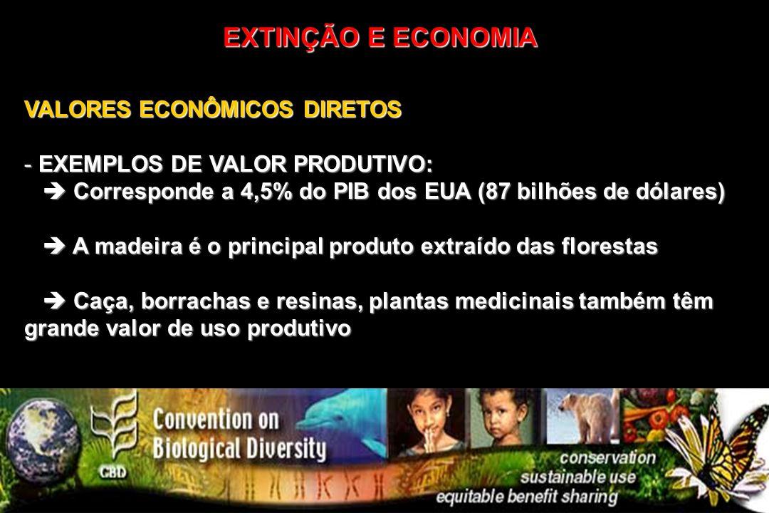 VALORES ECONÔMICOS DIRETOS - EXEMPLOS DE VALOR PRODUTIVO: Corresponde a 4,5% do PIB dos EUA (87 bilhões de dólares) Corresponde a 4,5% do PIB dos EUA