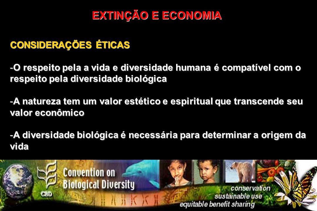 CONSIDERAÇÕES ÉTICAS -O respeito pela a vida e diversidade humana é compatível com o respeito pela diversidade biológica -A natureza tem um valor esté