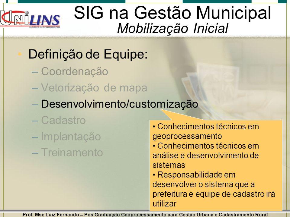 Prof. Msc Luiz Fernando – Pós Graduação Geoprocessamento para Gestão Urbana e Cadastramento Rural 15 SIG na Gestão Municipal Mobilização Inicial Defin