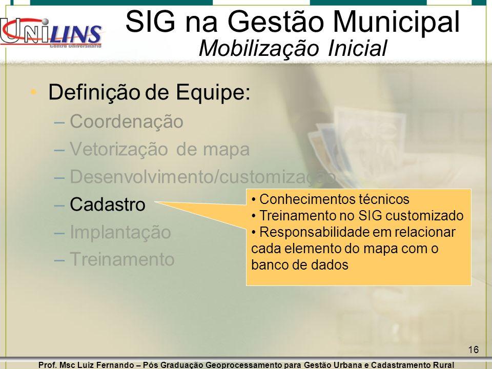 Prof. Msc Luiz Fernando – Pós Graduação Geoprocessamento para Gestão Urbana e Cadastramento Rural 16 SIG na Gestão Municipal Mobilização Inicial Defin