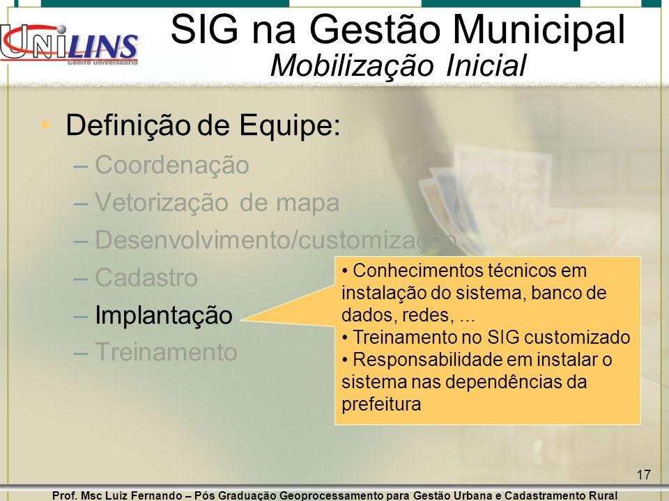 Prof. Msc Luiz Fernando – Pós Graduação Geoprocessamento para Gestão Urbana e Cadastramento Rural 17 SIG na Gestão Municipal Mobilização Inicial Defin