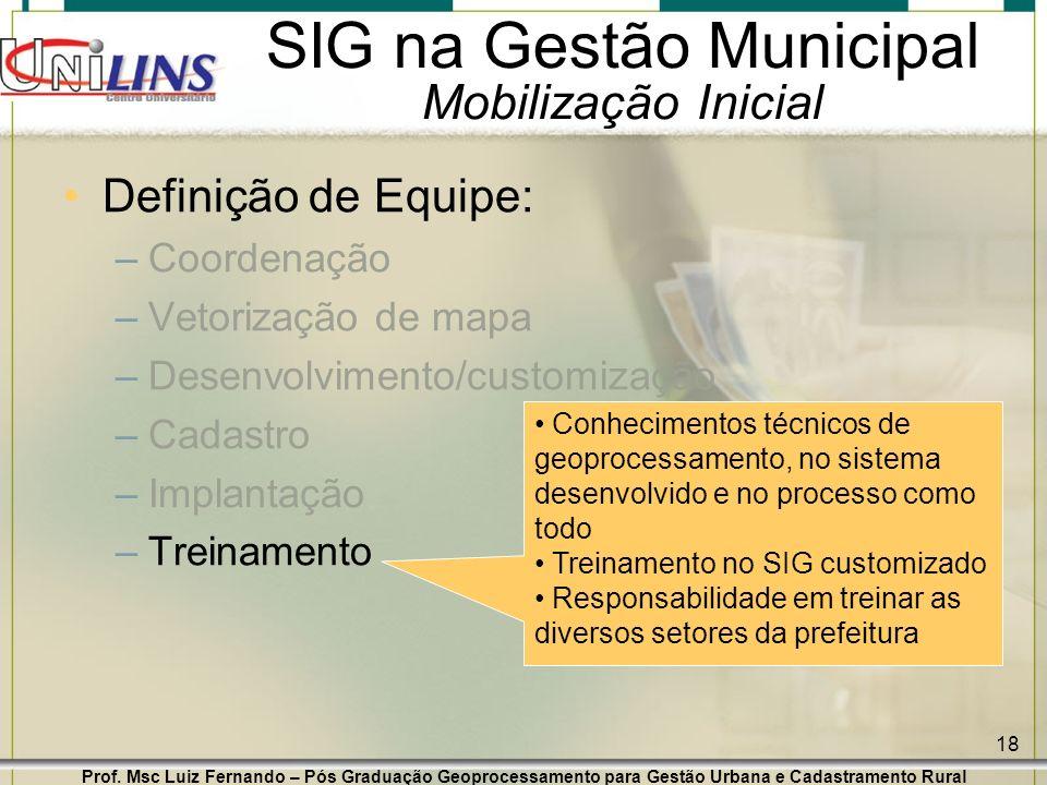 Prof. Msc Luiz Fernando – Pós Graduação Geoprocessamento para Gestão Urbana e Cadastramento Rural 18 SIG na Gestão Municipal Mobilização Inicial Defin