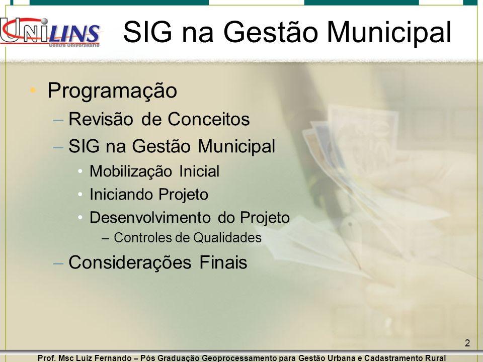 Prof. Msc Luiz Fernando – Pós Graduação Geoprocessamento para Gestão Urbana e Cadastramento Rural 2 SIG na Gestão Municipal Programação –Revisão de Co