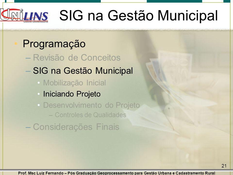 Prof. Msc Luiz Fernando – Pós Graduação Geoprocessamento para Gestão Urbana e Cadastramento Rural 21 SIG na Gestão Municipal Programação –Revisão de C