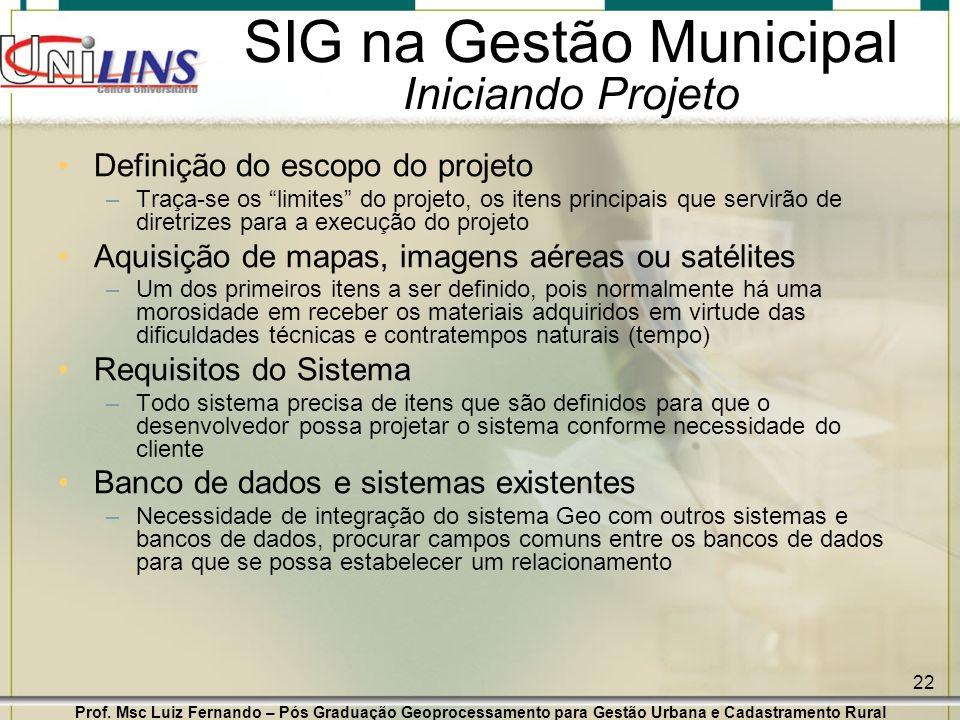 Prof. Msc Luiz Fernando – Pós Graduação Geoprocessamento para Gestão Urbana e Cadastramento Rural 22 SIG na Gestão Municipal Iniciando Projeto Definiç