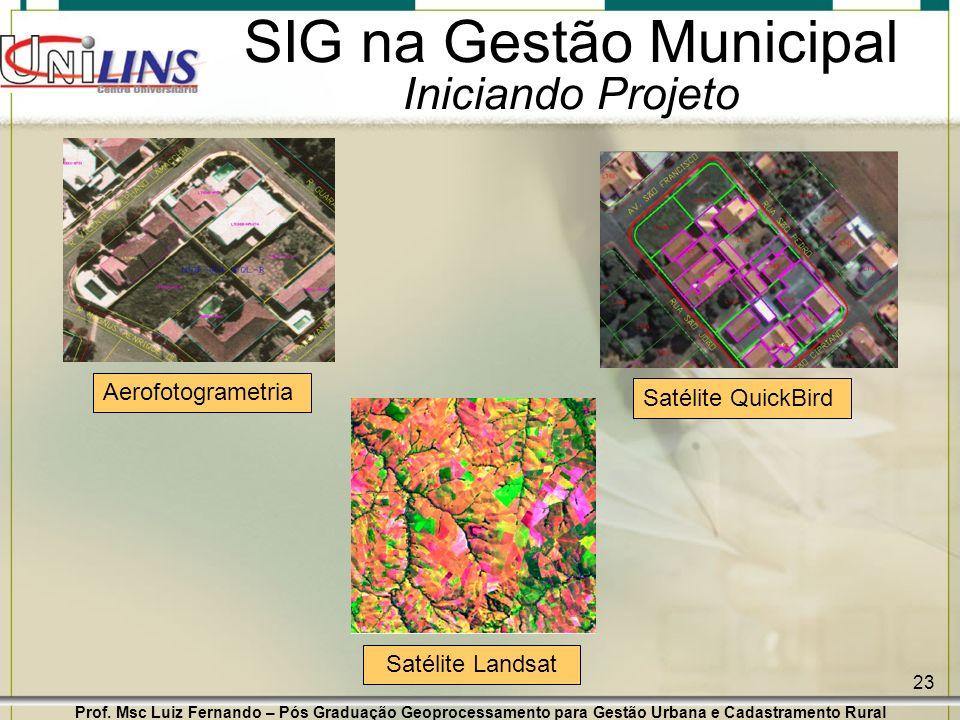 Prof. Msc Luiz Fernando – Pós Graduação Geoprocessamento para Gestão Urbana e Cadastramento Rural 23 SIG na Gestão Municipal Iniciando Projeto Aerofot