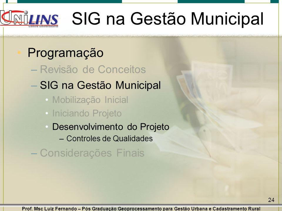 Prof. Msc Luiz Fernando – Pós Graduação Geoprocessamento para Gestão Urbana e Cadastramento Rural 24 SIG na Gestão Municipal Programação –Revisão de C