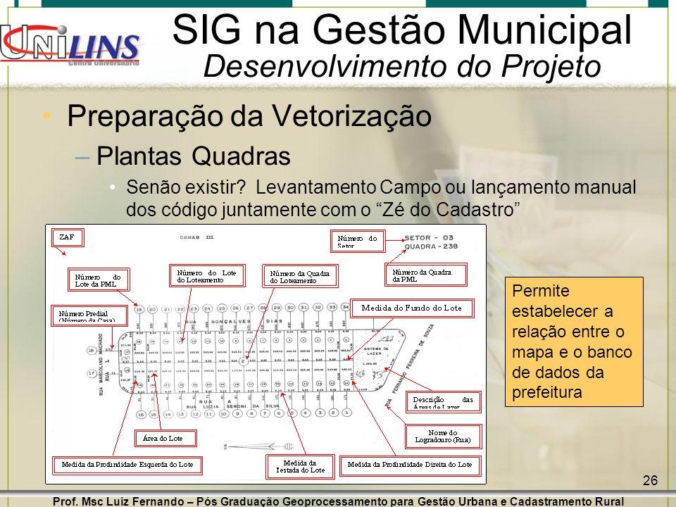 Prof. Msc Luiz Fernando – Pós Graduação Geoprocessamento para Gestão Urbana e Cadastramento Rural 26 SIG na Gestão Municipal Desenvolvimento do Projet