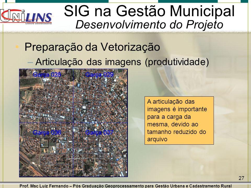Prof. Msc Luiz Fernando – Pós Graduação Geoprocessamento para Gestão Urbana e Cadastramento Rural 27 SIG na Gestão Municipal Desenvolvimento do Projet