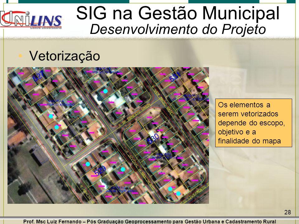 Prof. Msc Luiz Fernando – Pós Graduação Geoprocessamento para Gestão Urbana e Cadastramento Rural 28 SIG na Gestão Municipal Desenvolvimento do Projet