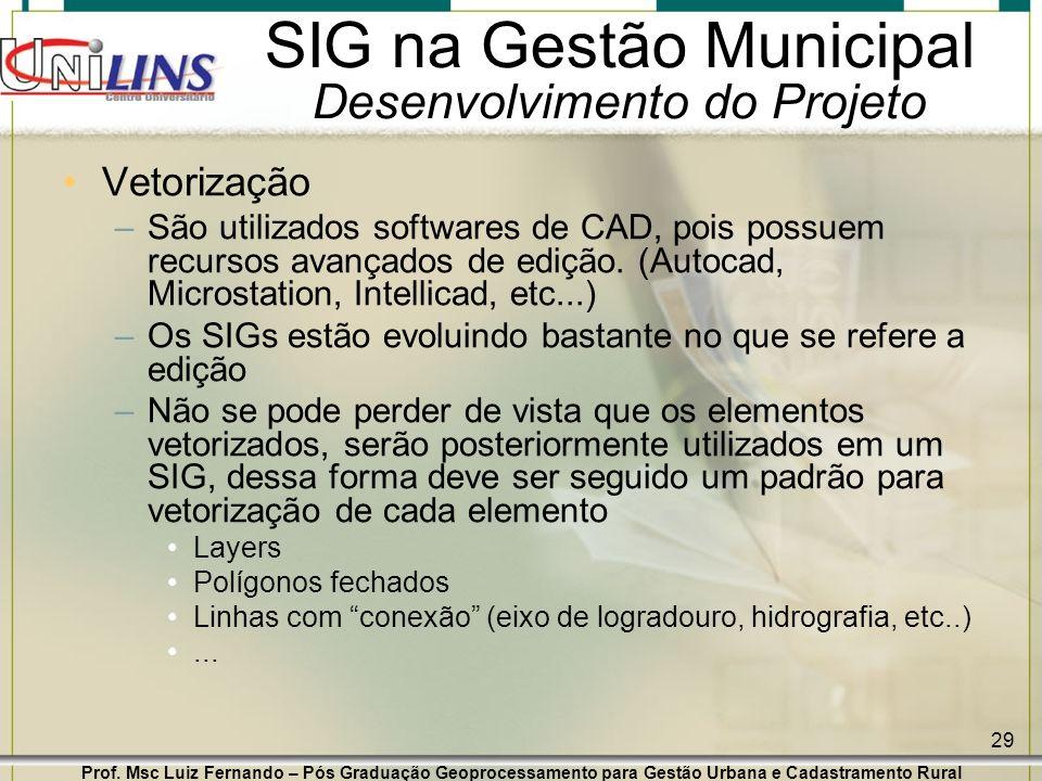 Prof. Msc Luiz Fernando – Pós Graduação Geoprocessamento para Gestão Urbana e Cadastramento Rural 29 SIG na Gestão Municipal Desenvolvimento do Projet