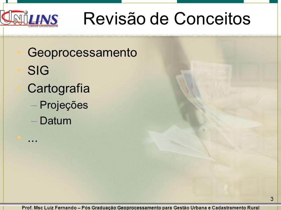 Prof. Msc Luiz Fernando – Pós Graduação Geoprocessamento para Gestão Urbana e Cadastramento Rural 3 Revisão de Conceitos Geoprocessamento SIG Cartogra