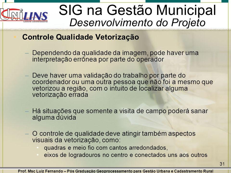 Prof. Msc Luiz Fernando – Pós Graduação Geoprocessamento para Gestão Urbana e Cadastramento Rural 31 SIG na Gestão Municipal Desenvolvimento do Projet
