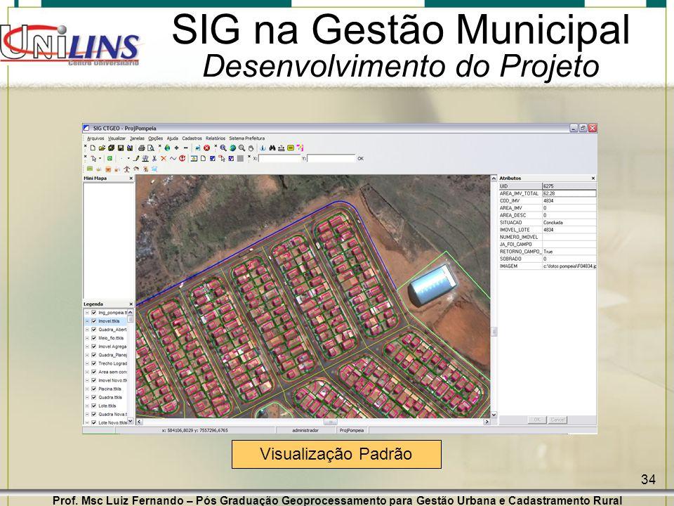 Prof. Msc Luiz Fernando – Pós Graduação Geoprocessamento para Gestão Urbana e Cadastramento Rural 34 SIG na Gestão Municipal Desenvolvimento do Projet