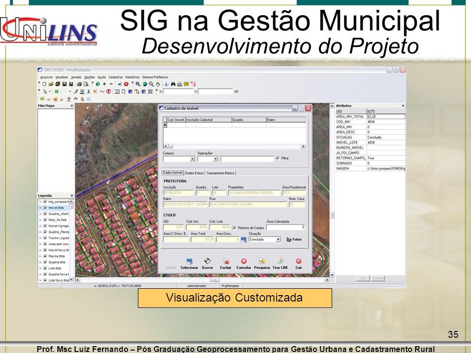 Prof. Msc Luiz Fernando – Pós Graduação Geoprocessamento para Gestão Urbana e Cadastramento Rural 35 SIG na Gestão Municipal Desenvolvimento do Projet