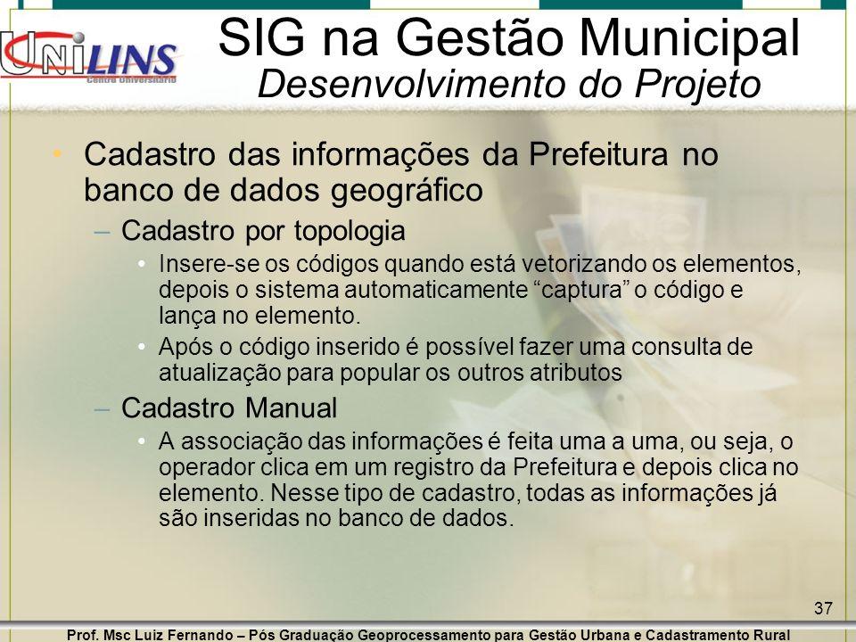 Prof. Msc Luiz Fernando – Pós Graduação Geoprocessamento para Gestão Urbana e Cadastramento Rural 37 SIG na Gestão Municipal Desenvolvimento do Projet