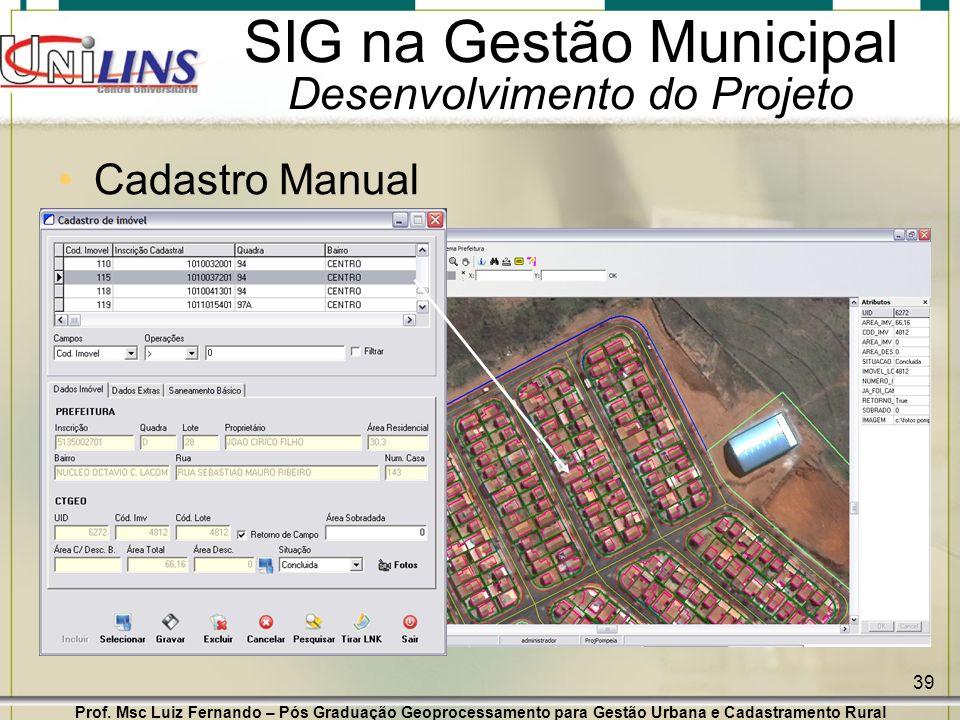 Prof. Msc Luiz Fernando – Pós Graduação Geoprocessamento para Gestão Urbana e Cadastramento Rural 39 SIG na Gestão Municipal Desenvolvimento do Projet