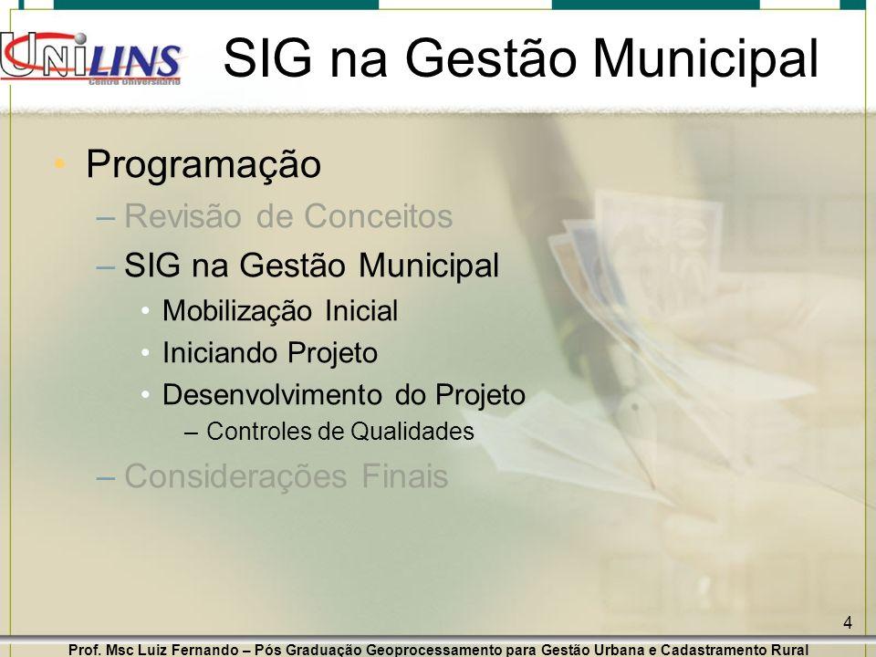 Prof. Msc Luiz Fernando – Pós Graduação Geoprocessamento para Gestão Urbana e Cadastramento Rural 4 SIG na Gestão Municipal Programação –Revisão de Co