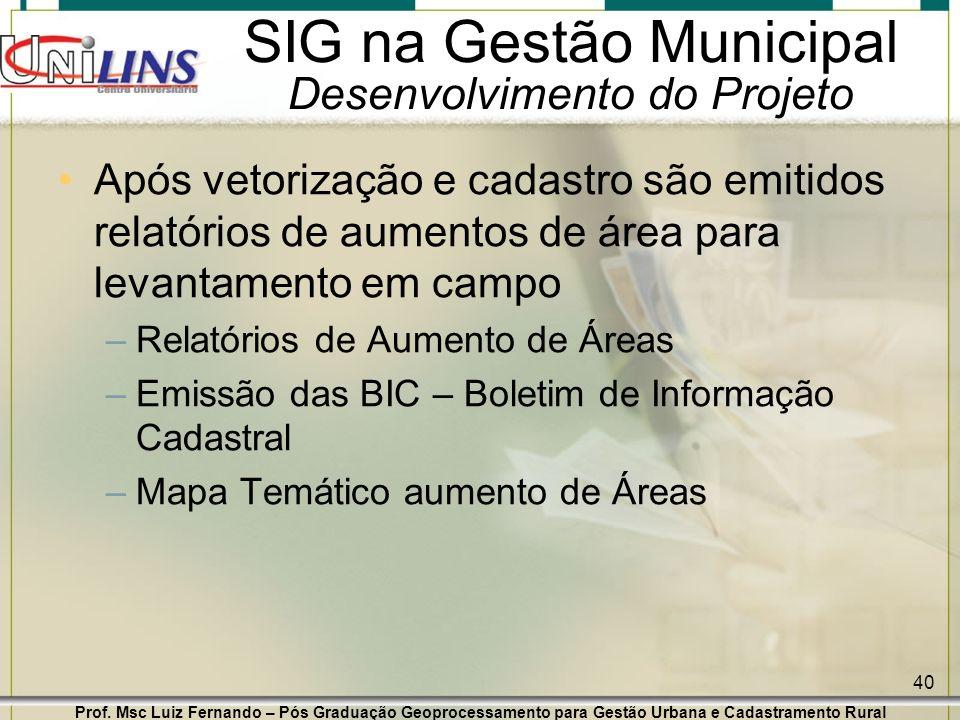 Prof. Msc Luiz Fernando – Pós Graduação Geoprocessamento para Gestão Urbana e Cadastramento Rural 40 SIG na Gestão Municipal Desenvolvimento do Projet