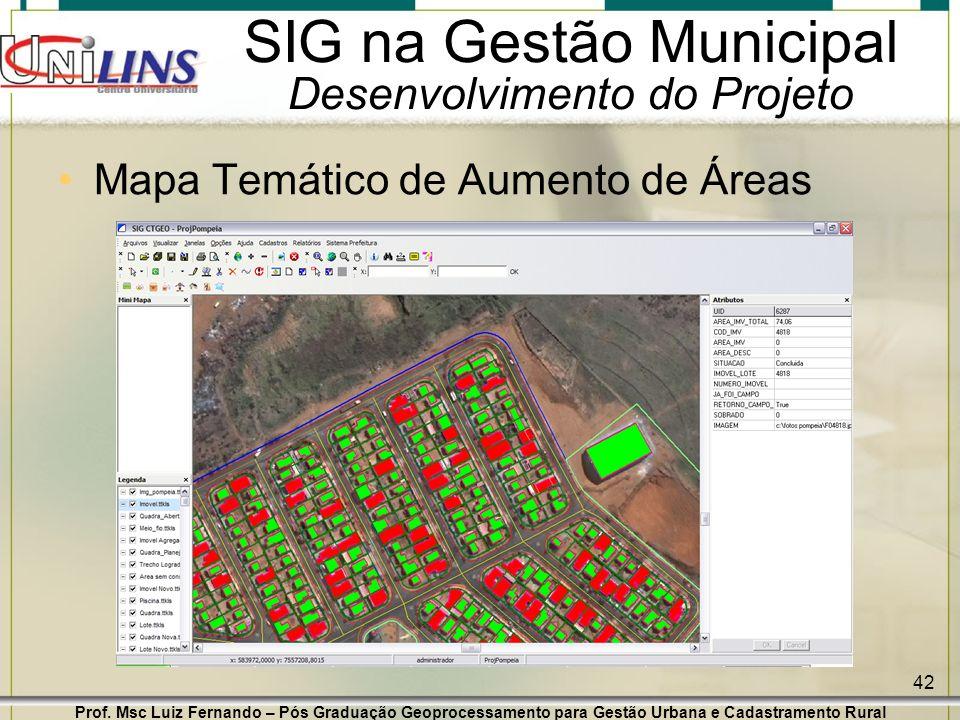 Prof. Msc Luiz Fernando – Pós Graduação Geoprocessamento para Gestão Urbana e Cadastramento Rural 42 SIG na Gestão Municipal Desenvolvimento do Projet