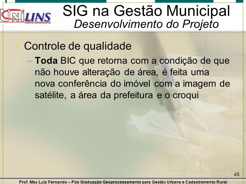 Prof. Msc Luiz Fernando – Pós Graduação Geoprocessamento para Gestão Urbana e Cadastramento Rural 45 SIG na Gestão Municipal Desenvolvimento do Projet