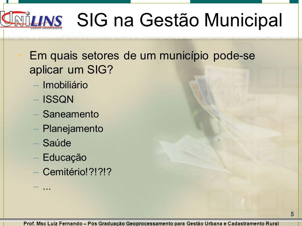 Prof. Msc Luiz Fernando – Pós Graduação Geoprocessamento para Gestão Urbana e Cadastramento Rural 5 SIG na Gestão Municipal Em quais setores de um mun