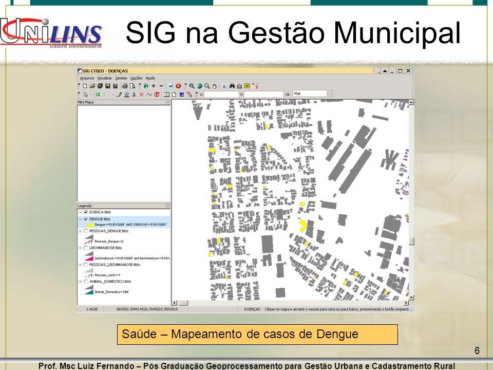 Prof. Msc Luiz Fernando – Pós Graduação Geoprocessamento para Gestão Urbana e Cadastramento Rural 6 SIG na Gestão Municipal Saúde – Mapeamento de caso
