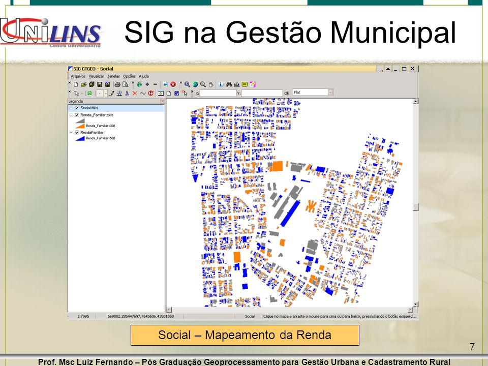 Prof. Msc Luiz Fernando – Pós Graduação Geoprocessamento para Gestão Urbana e Cadastramento Rural 7 SIG na Gestão Municipal Social – Mapeamento da Ren