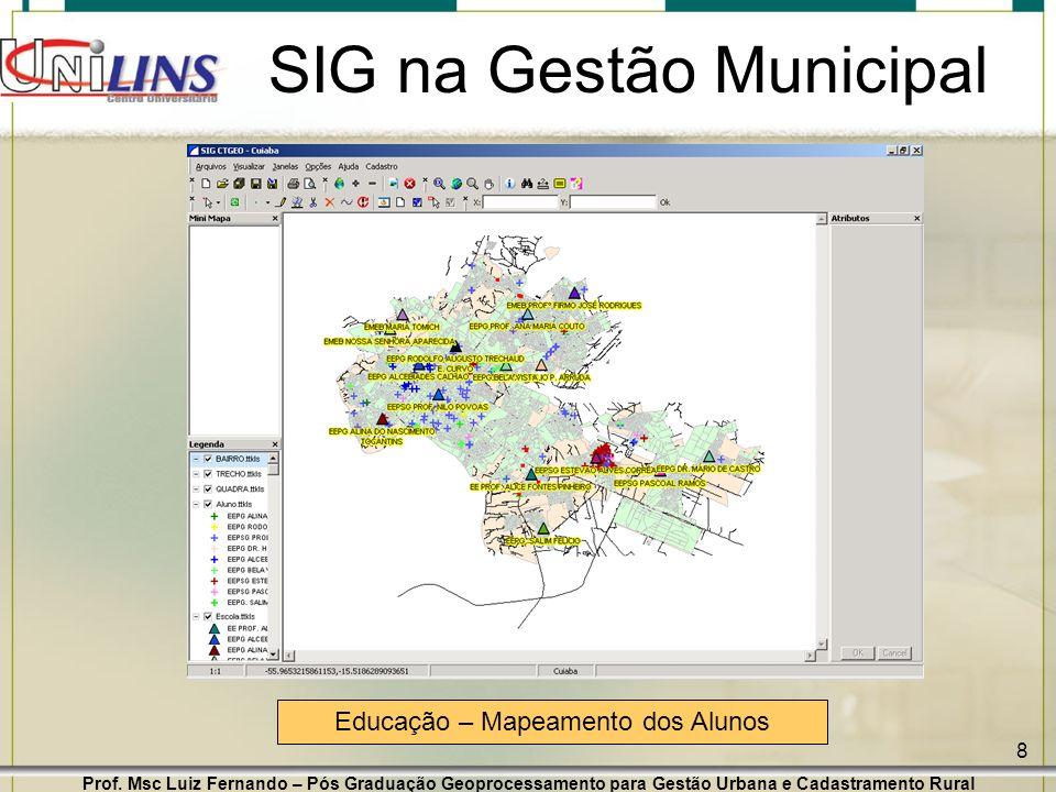 Prof. Msc Luiz Fernando – Pós Graduação Geoprocessamento para Gestão Urbana e Cadastramento Rural 8 SIG na Gestão Municipal Educação – Mapeamento dos