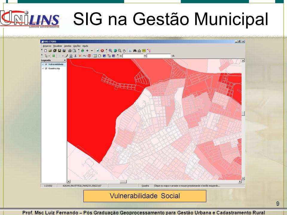 Prof. Msc Luiz Fernando – Pós Graduação Geoprocessamento para Gestão Urbana e Cadastramento Rural 9 SIG na Gestão Municipal Vulnerabilidade Social