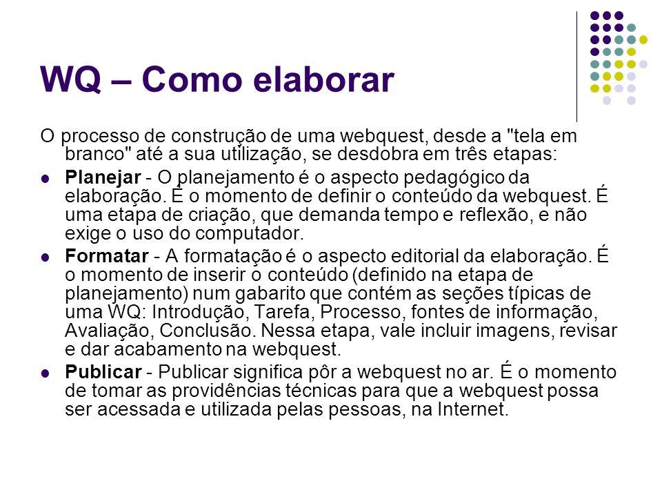 WQ – Como elaborar O processo de construção de uma webquest, desde a