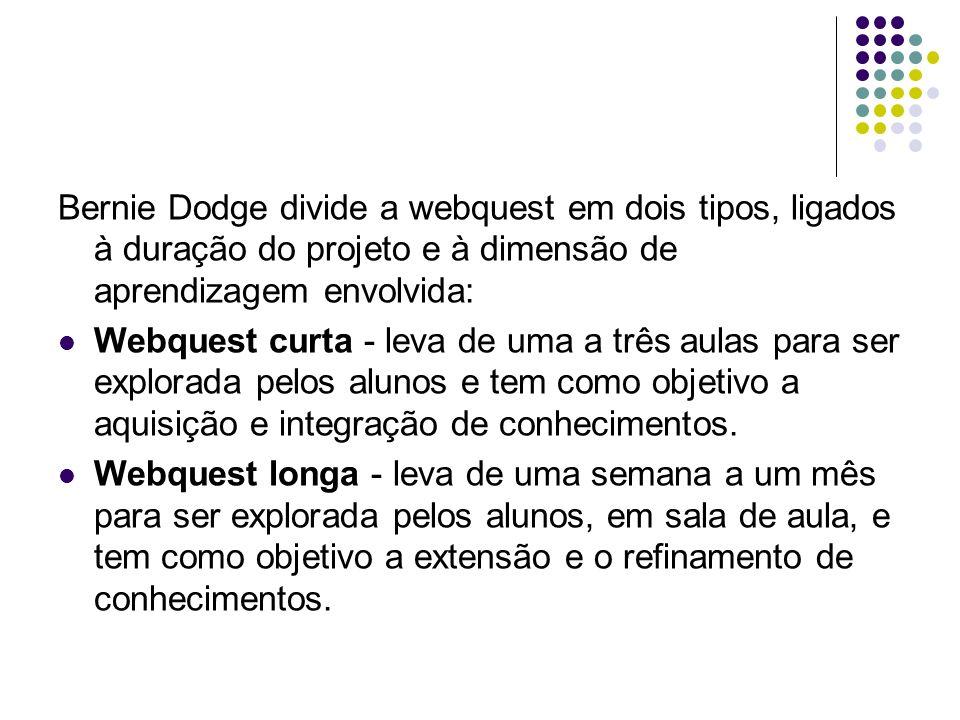 Bernie Dodge divide a webquest em dois tipos, ligados à duração do projeto e à dimensão de aprendizagem envolvida: Webquest curta - leva de uma a três