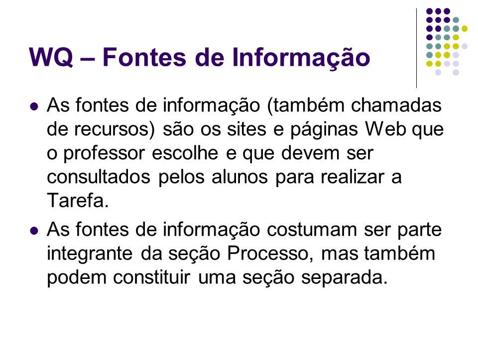 WQ – Fontes de Informação As fontes de informação (também chamadas de recursos) são os sites e páginas Web que o professor escolhe e que devem ser con