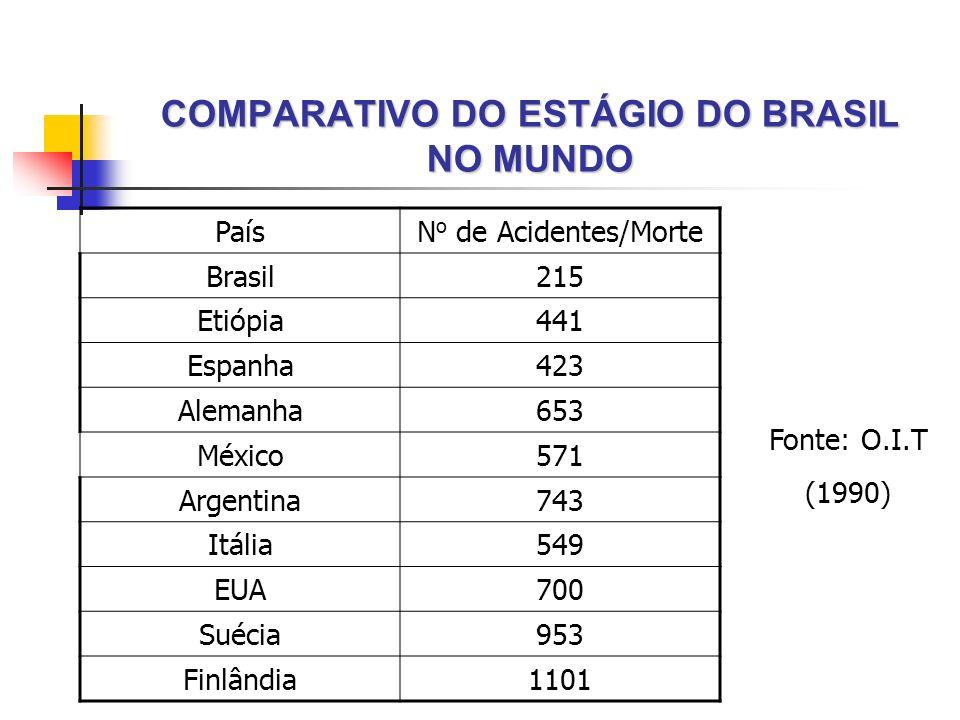 COMPARATIVO DO ESTÁGIO DO BRASIL NO MUNDO PaísN o de Acidentes/Morte Brasil215 Etiópia441 Espanha423 Alemanha653 México571 Argentina743 Itália549 EUA7