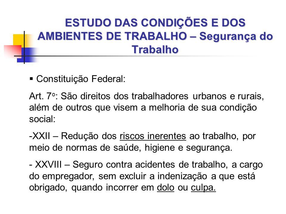 ESTUDO DAS CONDIÇÕES E DOS AMBIENTES DE TRABALHO PD 951 – Segurança do Trabalho Art.