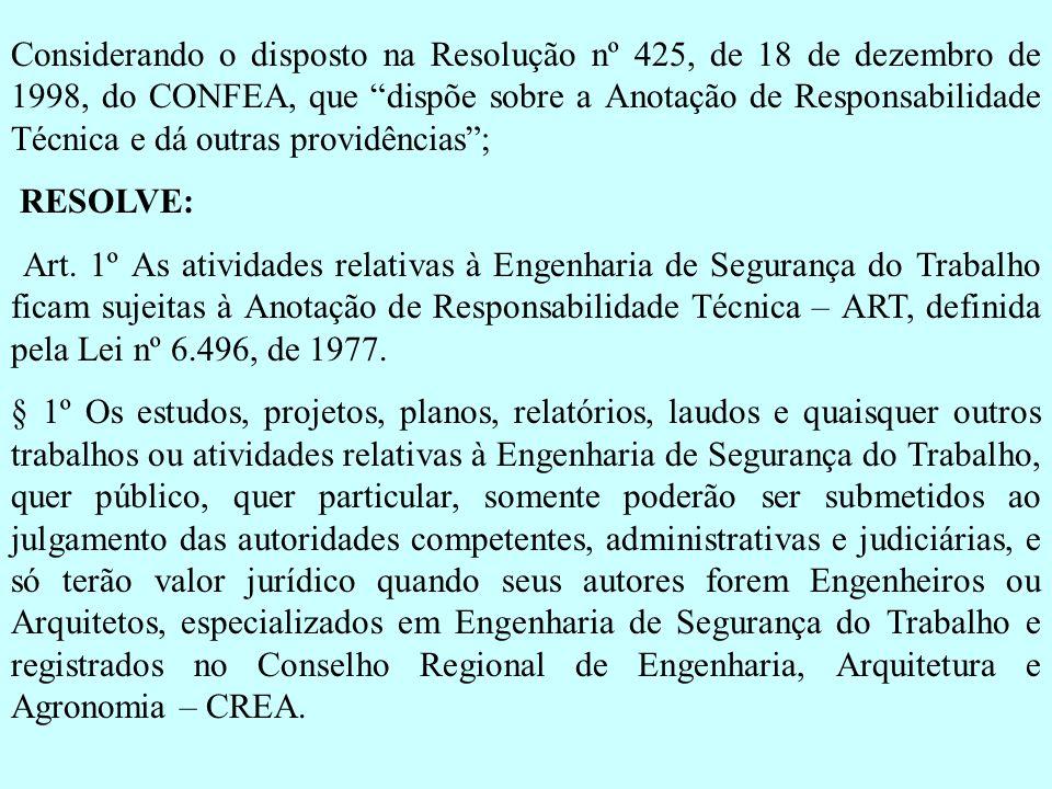Considerando o disposto na Resolução nº 425, de 18 de dezembro de 1998, do CONFEA, que dispõe sobre a Anotação de Responsabilidade Técnica e dá outras
