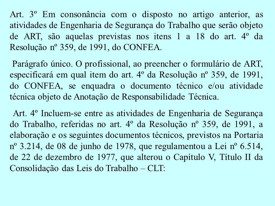 Art. 3º Em consonância com o disposto no artigo anterior, as atividades de Engenharia de Segurança do Trabalho que serão objeto de ART, são aquelas pr
