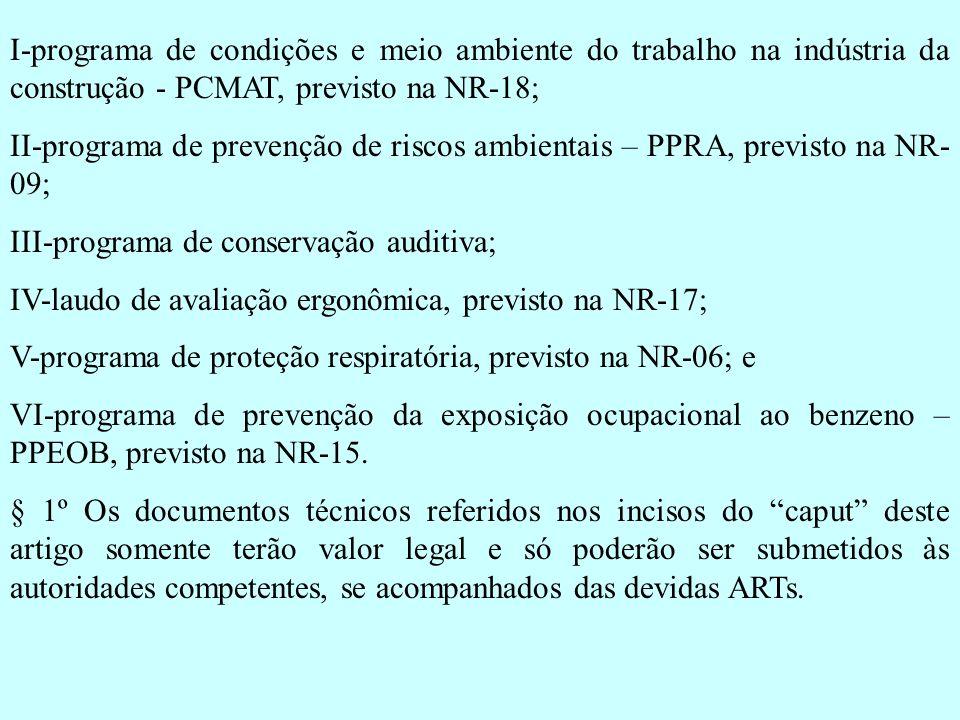 I-programa de condições e meio ambiente do trabalho na indústria da construção - PCMAT, previsto na NR-18; II-programa de prevenção de riscos ambienta