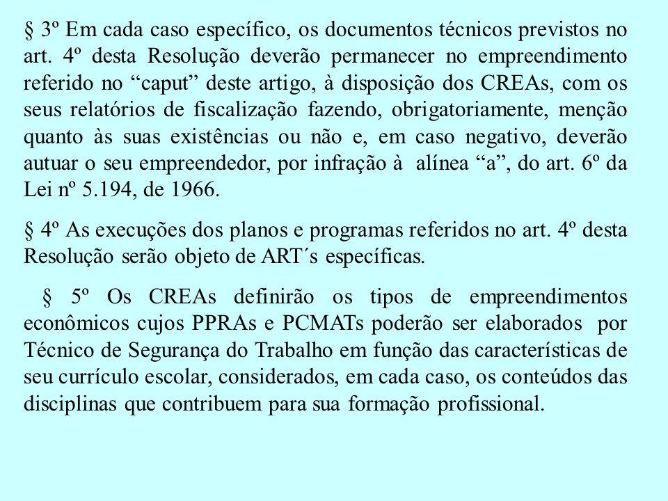 § 3º Em cada caso específico, os documentos técnicos previstos no art. 4º desta Resolução deverão permanecer no empreendimento referido no caput deste