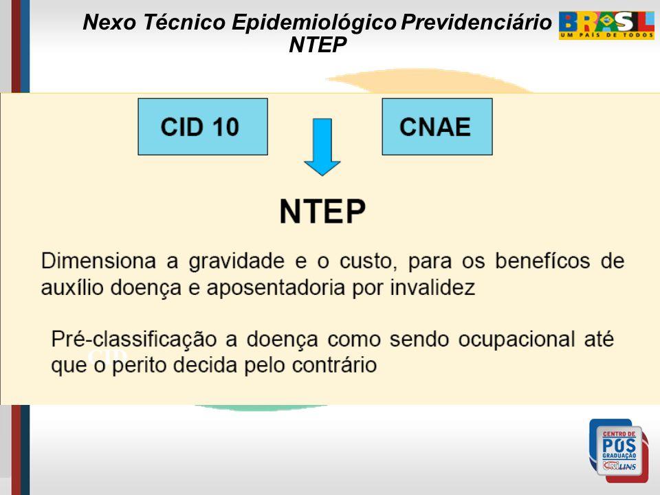 Conceito: É a relação entre CNAE-classe e Agrupamento CID-10. …sendo tal nexo intitulado de epidemiológico não por estar atrelado ao estudo de epidemi