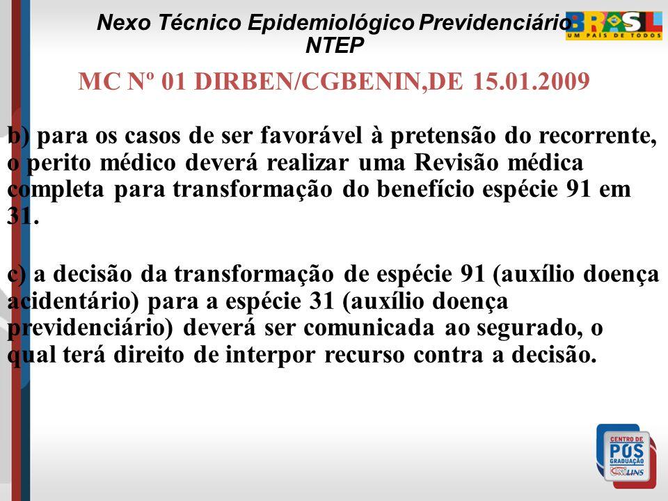 MC Nº 01 DIRBEN/CGBENIN,DE 15.01.2009 3. O art. 485 da IN 20/2007 ratifica o fato do INSS poder reformar totalmente a decisão, atendendo ao pedido rec